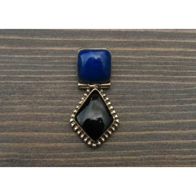 SP24 Pendentif en Argent Massif et Lapis Lazuli et Onyx