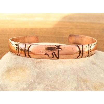 MB02 Bracelet Tibétain en Cuivre Symbole Om