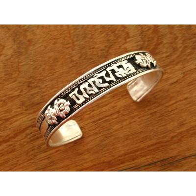 MB09 Bracelet Tibétain en Métal Argenté avec Mantra Tibétain