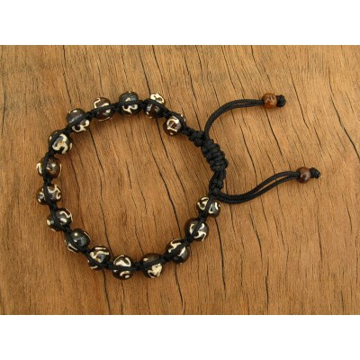 MB28 Bracelet Shamballa en Os de Buffle et Symbole Om